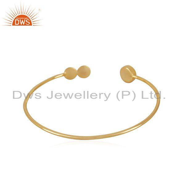 Suppliers Aqua Chalcedony Gemstone Gold Plated 925 Silver Cuff Bracelet Manufacturer India