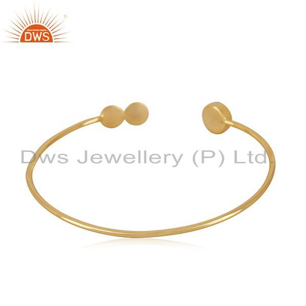 Suppliers Blue Chalcedony Gemstone Gold Plated 925 Silver Designer Cuff Bracelet Supplier