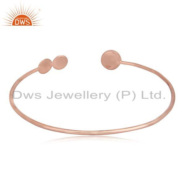 Designer of Rose gold plated designer silver rainbow moonstone cuff bangles