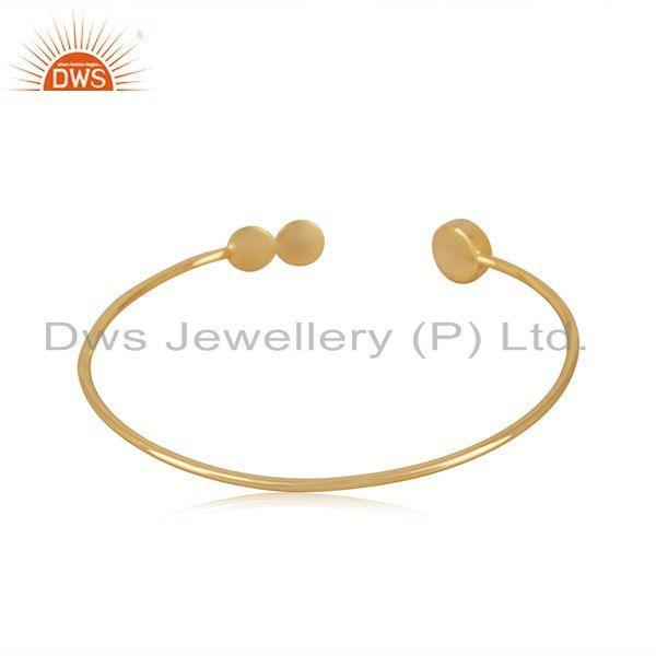 Suppliers Rainbow Moonstone Gold Plated 925 Silver Designer Cuff Bracelet Wholesale