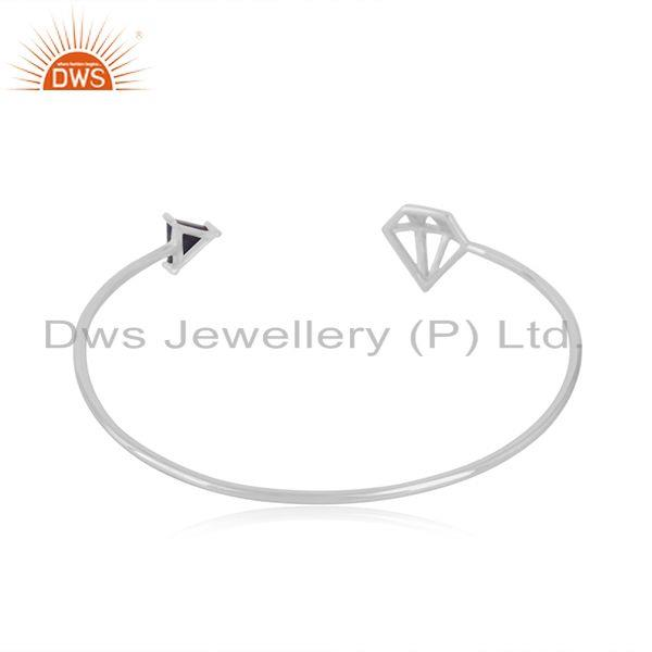 Suppliers Diamond Shape 925 Sterling Fine Silver Gemstone Cuff Bracelet Wholesale