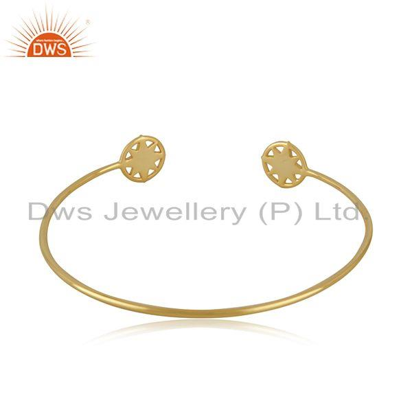 Suppliers Star Charm Yellow Gold Plated 925 Sterling Silver Cuff Bracelet Wholesale