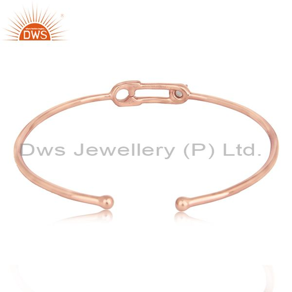 Designer of Rainbow moonstone rose gold plated silver safety pin cuff bangle