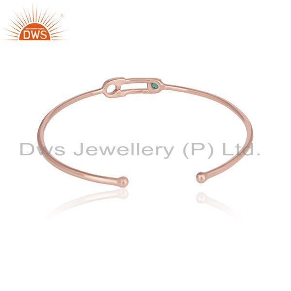Designer of Rose gold plated designer silver green onyx gemstone cuff bangles