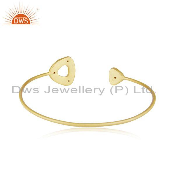 Suppliers White Zircon Handmade Gold Plated Sterling 925 Silver Cuff Bracelet
