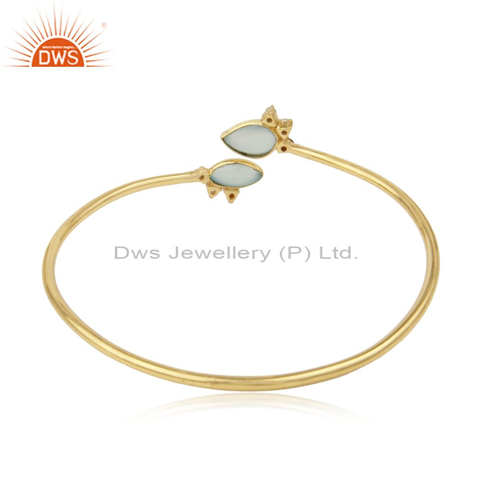 Supplier of Aqua Chalcedony Gemstone Gold Plated Sterling Silver Cuff Bracelet in Jaipur