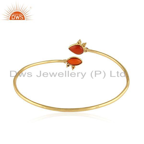 Wholesalers of Natural red onyx gemstone designer gold plated silver bangles