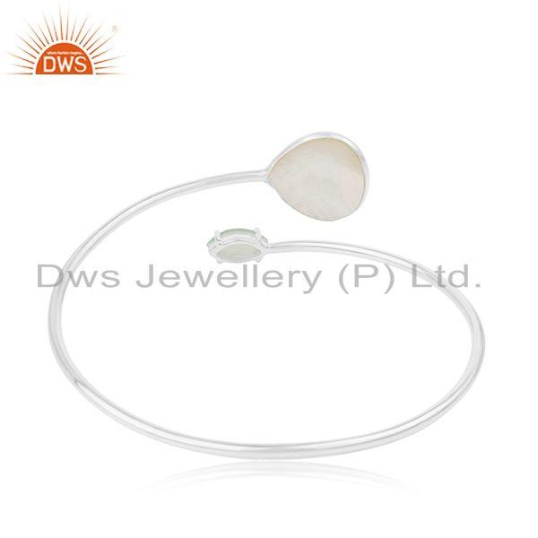 Supplier of Mother of Pearl Gemstone Fine 925 Sterling Silver Girls Cuff Bracelet in India