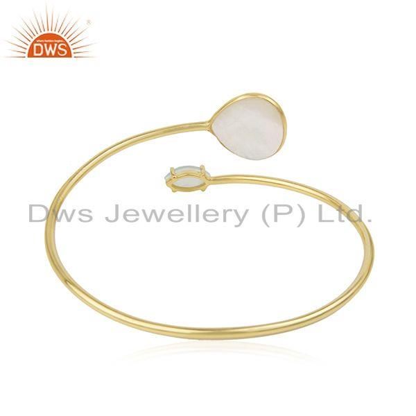 Wholesale Mother of Pearl Gemstone Gold Plated 925 Sterling Silver Cuff Bangle in Jaipur