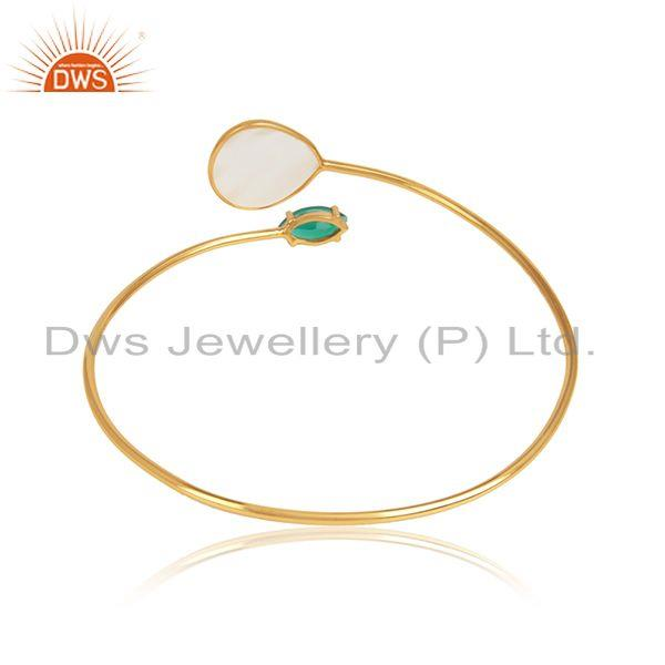 Designer of Designer gold over green onyx mother of pearl gemstone bangles