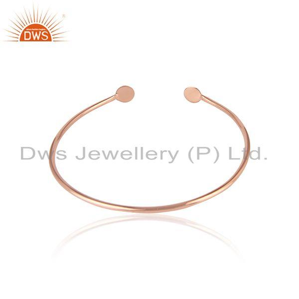 Designer of Rose gold on 925 silver handmade cuff bangle jewelry for womens