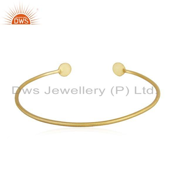 Wholesalers of Yellow gold on 925 silver handmade cuff bangle jewelry for womens
