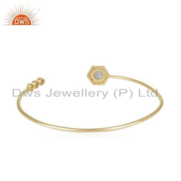 Suppliers Rainbow Moonstone CZ Gemstone Gold Plated Silver Cuff Bangle Jewelry