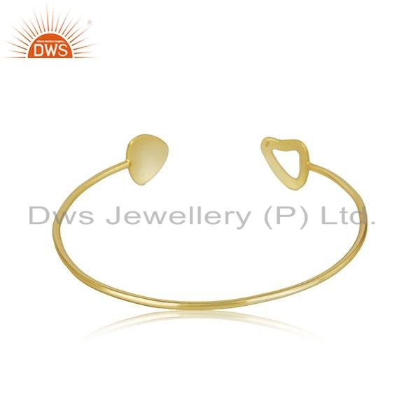 Suppliers Gold Plated 925 Sterling Silver Texture Designer Cuff Bangle Jewelry