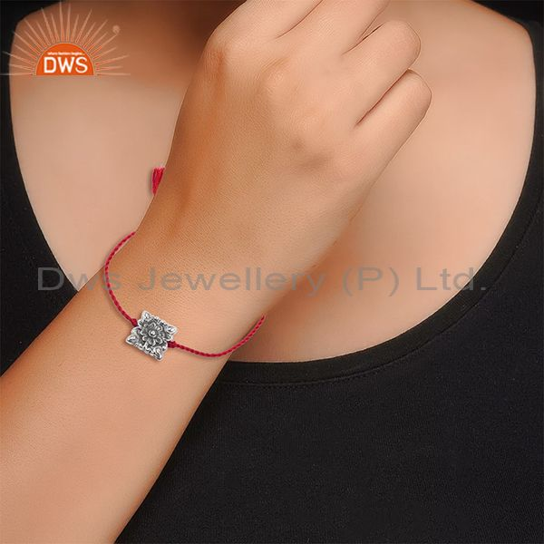 Suppliers Floral Design Oxidized Sterling Silver Red Macrame Bracelet Jewelry