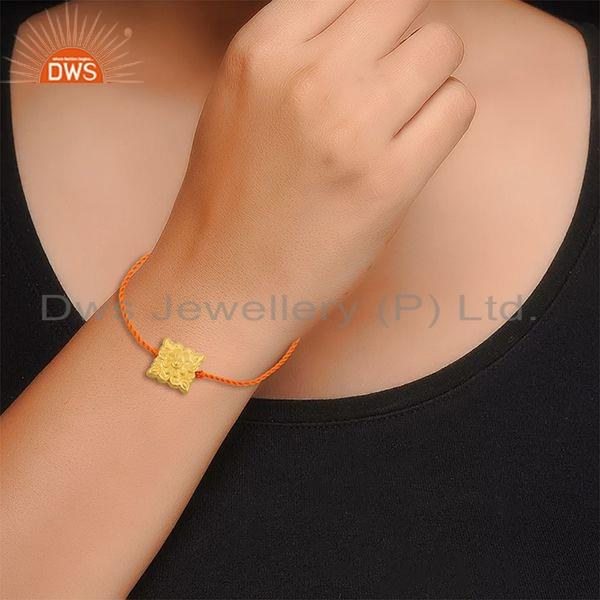 Suppliers Handmade Gold Plated Silver Orange Macrame Bracelet For womens