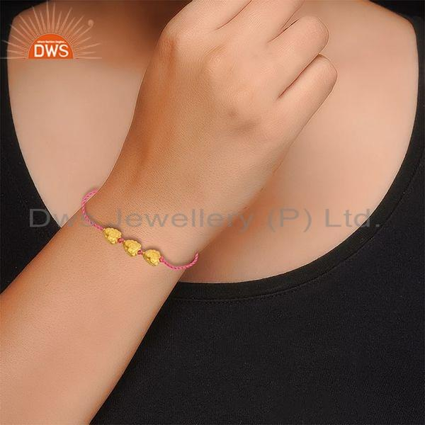 Suppliers Yellow Gold Plated Silver Beaded Handmade Orange Macrame Bracelet