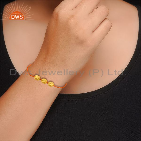 Suppliers New Gold Plated Designer Silver Bead Orange Macrame Bracelet Jewelry