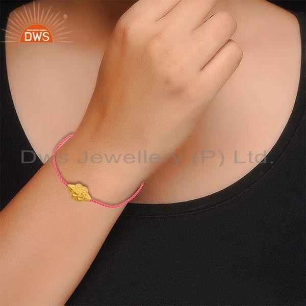 Suppliers 18k Gold Plated Designer Silver Bead Pink Macrame Bracelet Jewelry