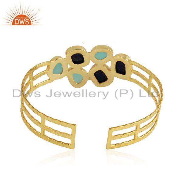 Suppliers Aqua Chalcedony Lapis Gemstone Gold Plated Silver Bangles Jewelry