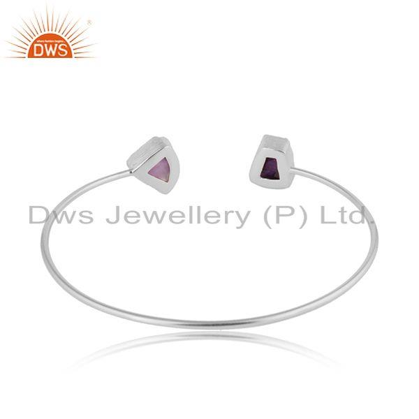 Suppliers Handmade 925 Sterling Fine Silver Amethyst Gemstone Cuff Bangle