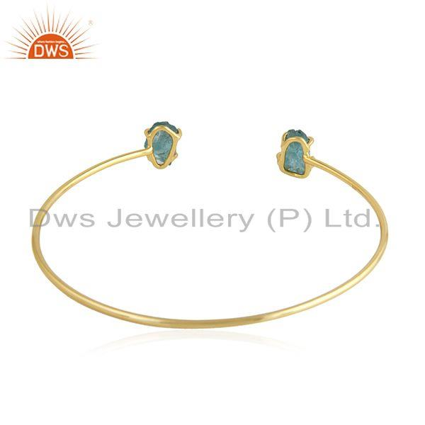 Suppliers Prong Set Apatite Gemstone Gold Plated Silver Cuff Bangle Jewelry