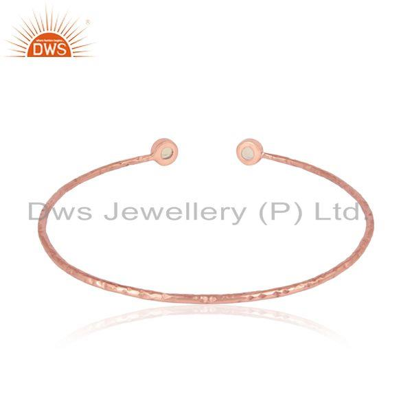 Designer of Rose gold on silver 925 ethiopian opal gemstone designer bangle