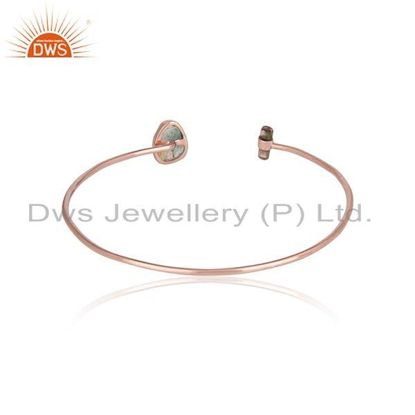 Designer of Rose gold plated 925 silver bio tourmaline gemstone cuff bangles
