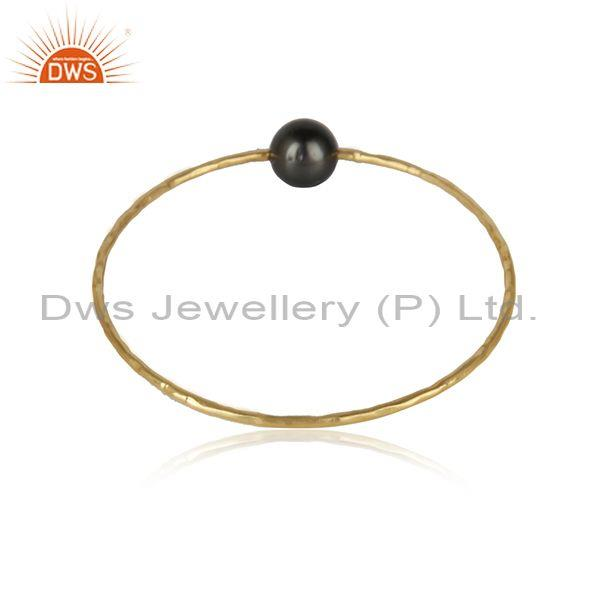 Designer of Gray pearl gemstone handmade yellow gold plated 925 silver bangles