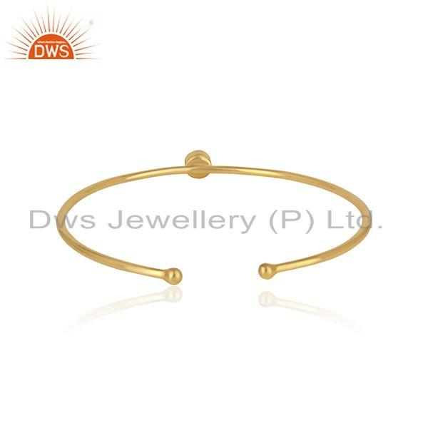 Designer of Silver 925 yellow gold plated sleek cuff with rose quartz