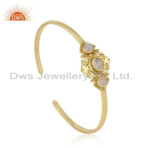 Manufacturer of Boho Style Cuff in Yellow Gold on Silver with Rainbow Moonstone