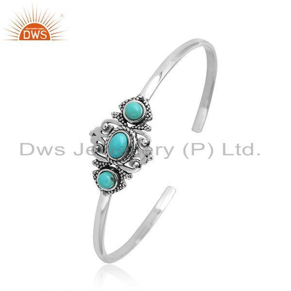 Designer of Designer bohemian cuff in ocidised silver with arizona turquoise