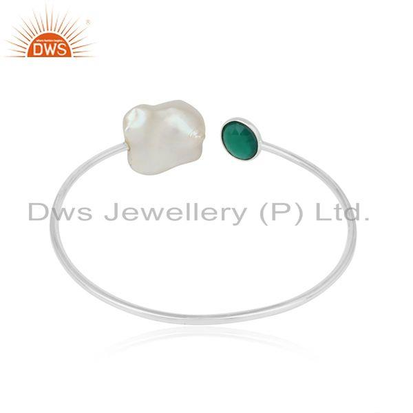 Designer of Handcrafted designer silver cuff with green onyx and natural pearl