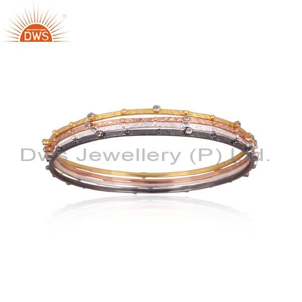 Cz set gold, black, white, and rose gold on silver bangle