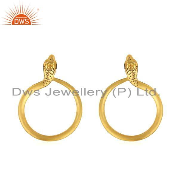 Suppliers 18K Yellow Gold Plated Sterling Silver Cubic Zirconia Snake Post Stud Earrings