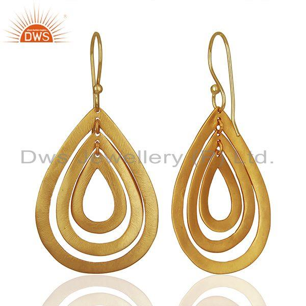 Suppliers Handmade Gold Plated Brass Fashion Dangle Earrings Manufacturers