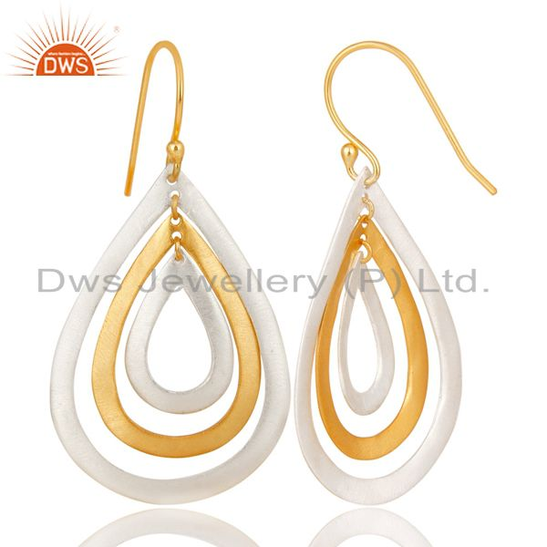 Suppliers 14K Gold Plated & Solid 925 Silver Plated Handmade Fashion Drops Brass Earrings