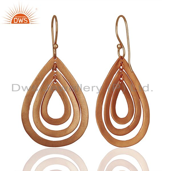 Suppliers Handmade Rose Gold Plated Brass Fashion Dangle Earrings Manufacturers