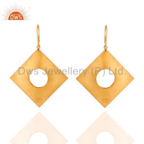 Suppliers Solid 925 Sterling SIlver Textured Mette Finish With Gold Plated Hook Earrings