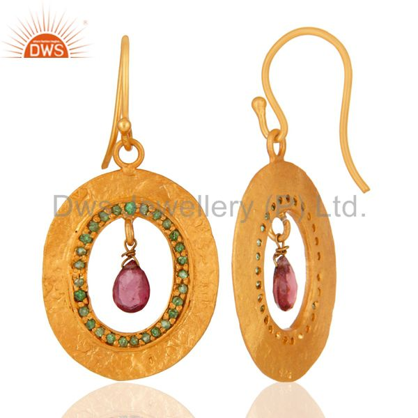 Suppliers Handmade Tourmaline & Emerald Gemstone Earring Made In 18K Gold Over 925 Silver