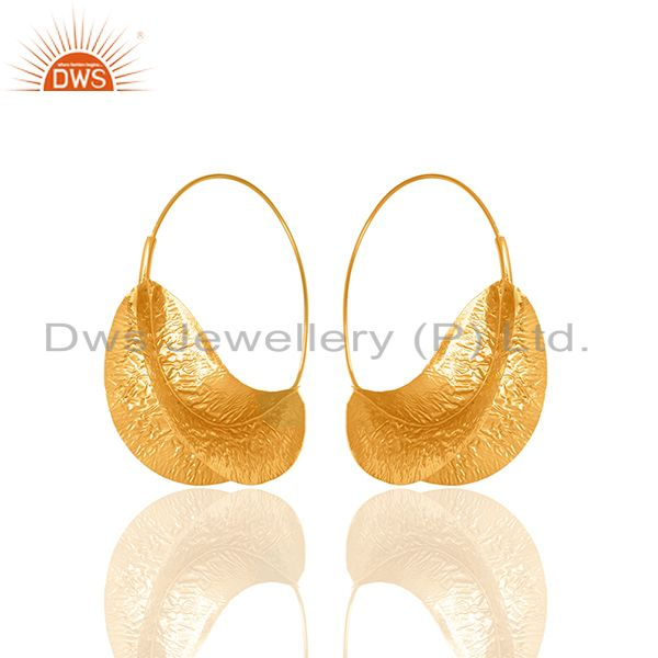 Suppliers Handmade Leaf Design Gold Plated Brass Fashion Earrings Manufacturer