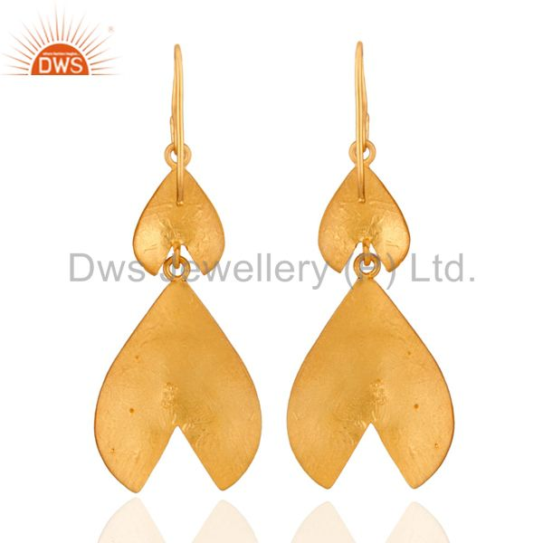 Modern Indian Hand Hammered Gold Plated Silver Earrings Designs Jewelry Manufacturer India