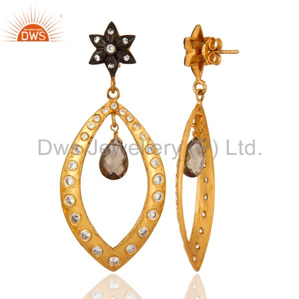 Suppliers Gold Plated 925 Sterling Silver Smoky Quartz Gemstone Drop Party Wear Earrings
