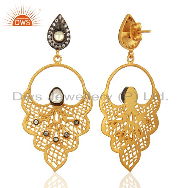 Suppliers 22K Yellow Gold Plated Brass Crystal CZ Polki Designer Dangle Earrings