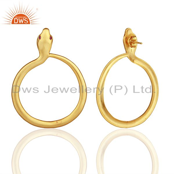 Suppliers 22K Yellow Gold Plated Sterling Silver Red CZ Snake Design Dangle Earrings