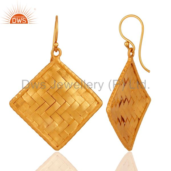 Suppliers 24K Gold Plated Sterling Silver Matte Finished Celtic Creativity Woven Earrings
