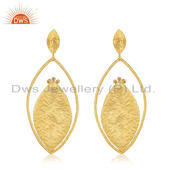Suppliers 24K Yellow Gold Plated Brass Cubic Zirconia Womens Fashion Dangle Earrings