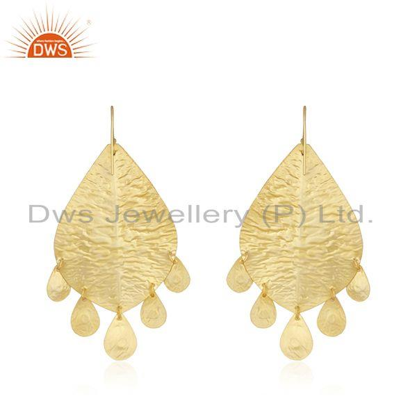 Suppliers Handmade Gold Plated 925 Silver Turquoise Stone Leaf Earrings Supplier