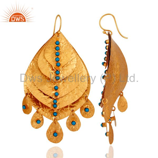 Suppliers Handmade Turquoise Gemstone 18K Gold Plated Sterling Silver Chandelier Earring