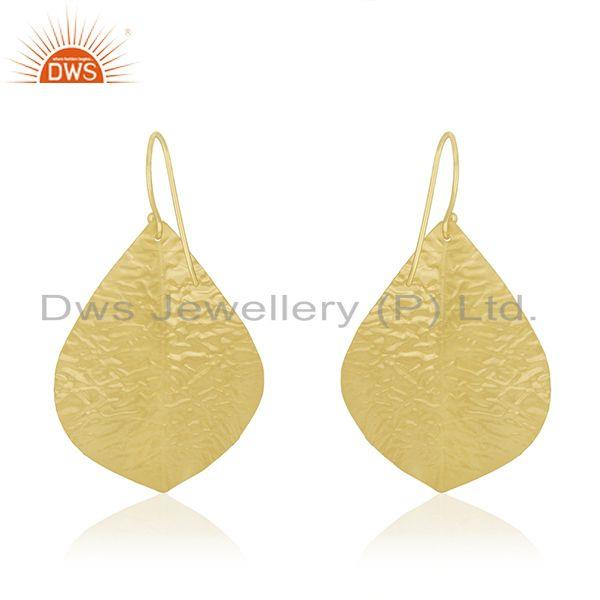 Suppliers Lapis Lazuli Gemstone Gold Plated 925 Silver Leaf Earring Manufacturer